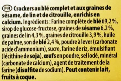 Crackers petit déjeuner multi graines 200 g - Ingredients