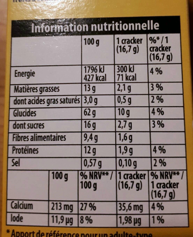 Crackers petit déjeuner multi graines 200 g - Nutrition facts