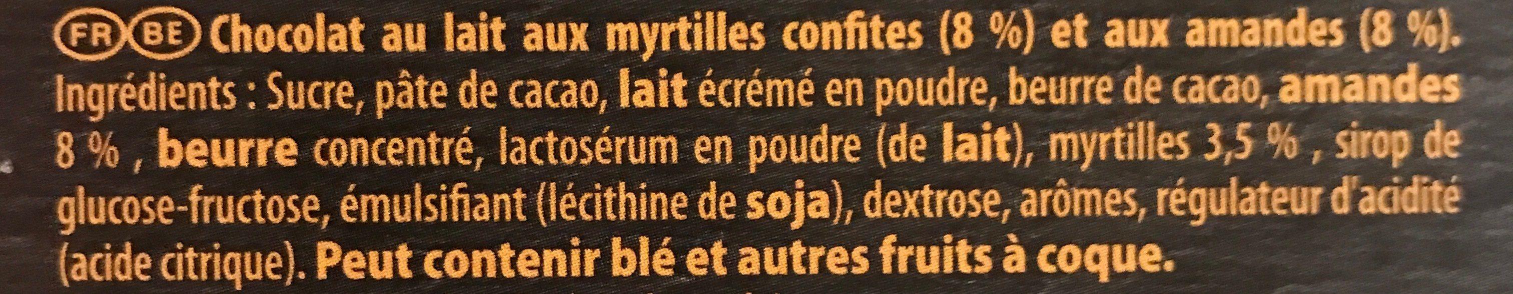 Chocolat au lait aux myrtilles confites et aux amandes - Ingrediënten - fr