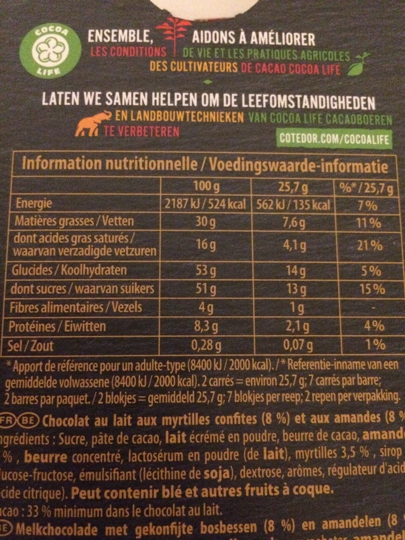 Chocolat au lait aux myrtilles confites et aux amandes - Voedingswaarden - fr