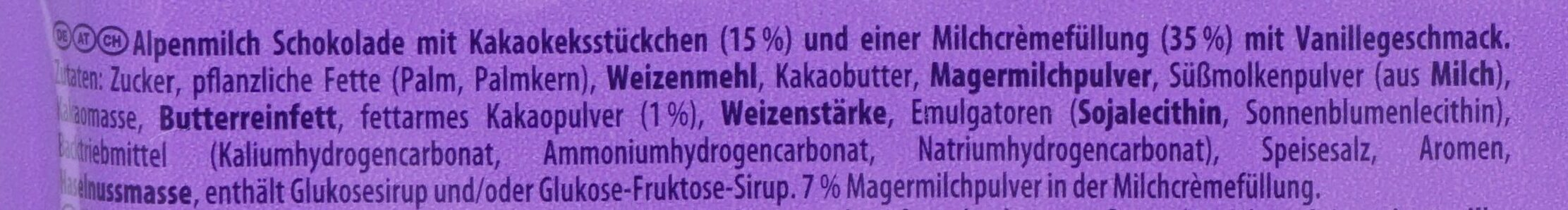 Milka & Oreo - Ingredients - de