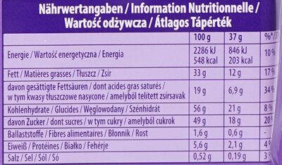 Milka & Oreo - Nutrition facts - de