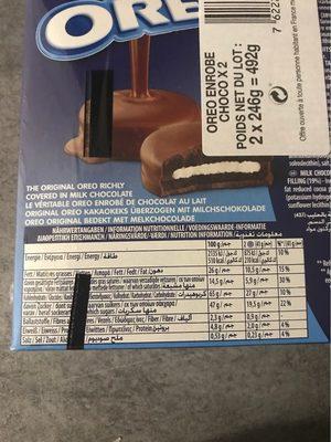 Oreo Biscuits cacaotés enrobés chocolat lait les 2 boites de - Voedingswaarden