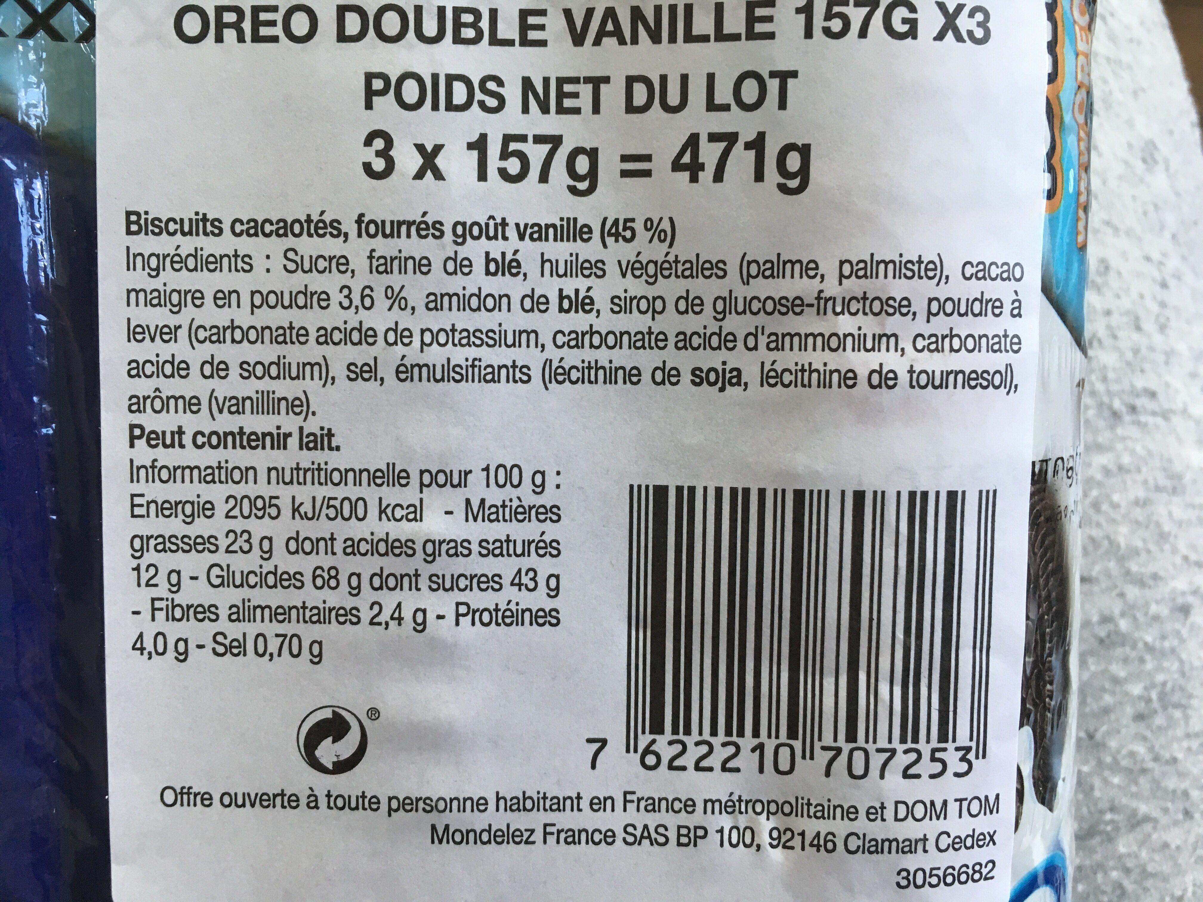 Oreo double - Ingrédients - fr