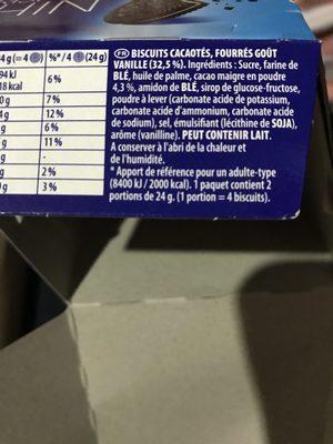 Oreo Crispy & Thin Original - Ingredients