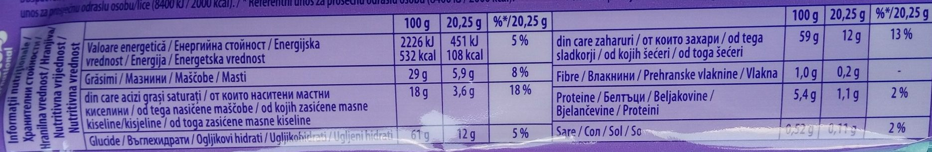 Milka waves with caramel crispearls - Informations nutritionnelles