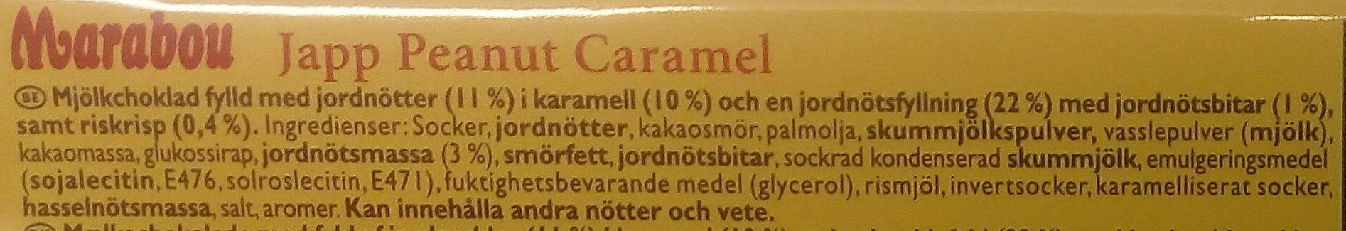 Marabou japp peanut caramel - Ingredients