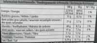 Chocolat noir bio caramel beurre salé - Informations nutritionnelles - fr