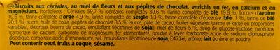 Belvita original Miel et pépites de chocolat - Ingrédients - fr