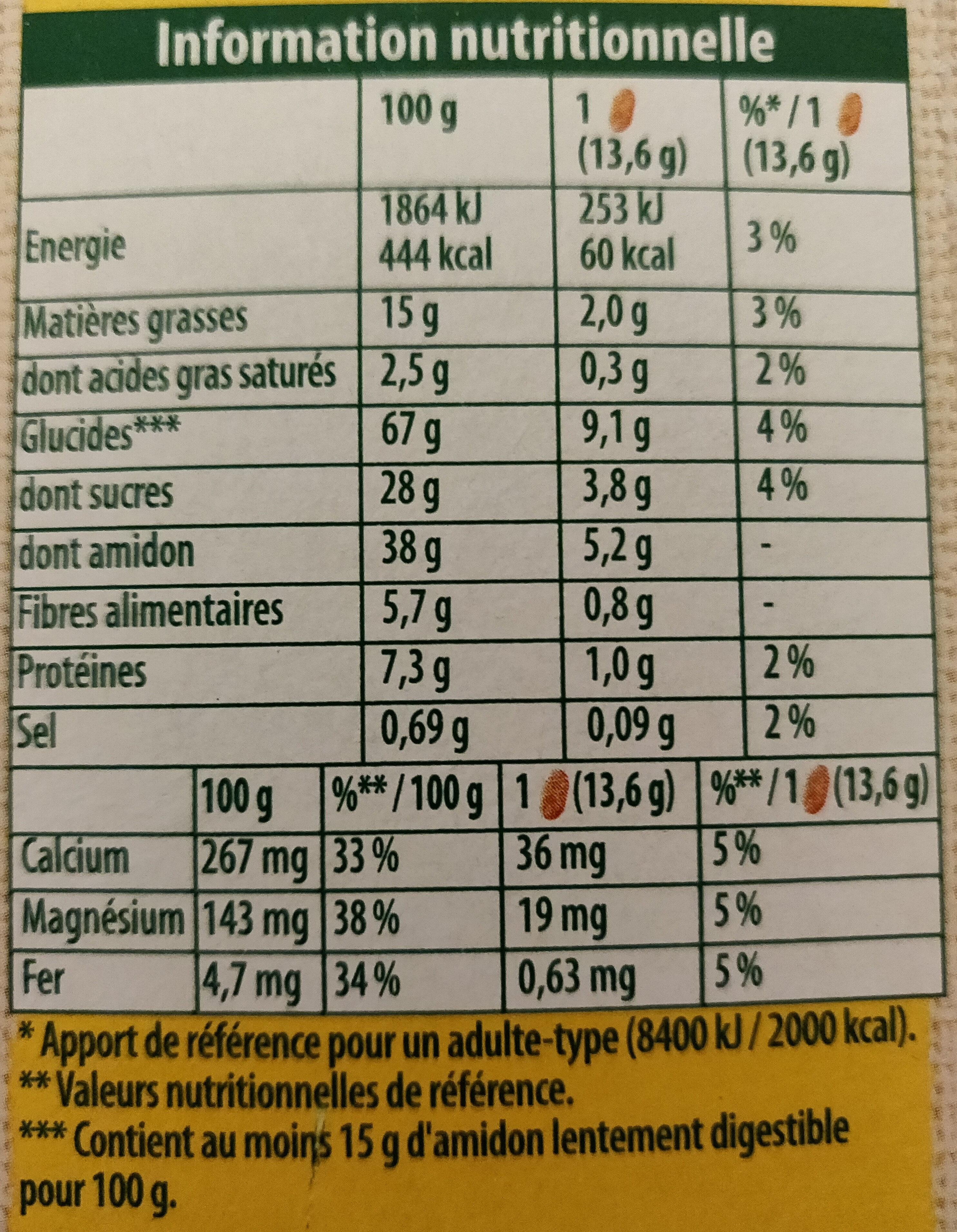 Belvita original Miel et pépites de chocolat - Informations nutritionnelles - fr