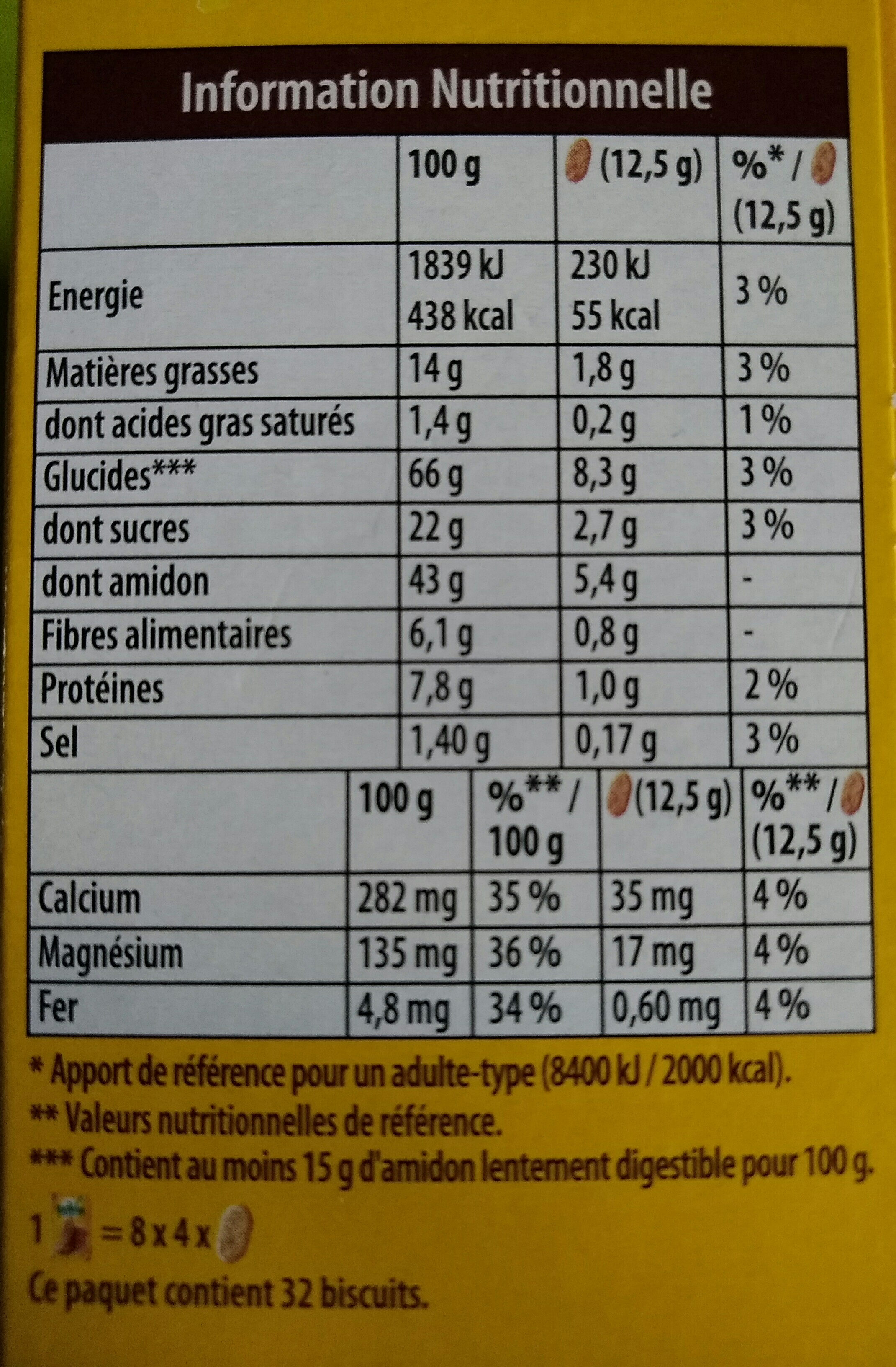 belvita original petit dejeuner - Nutrition facts - fr