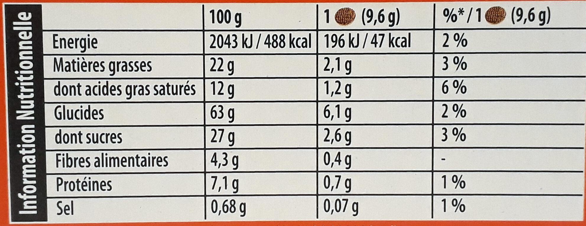 Pépito - Chocolat noir - Informazioni nutrizionali - fr