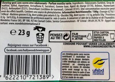 Style chlorophylle parfum menthe verte - Nutrition facts