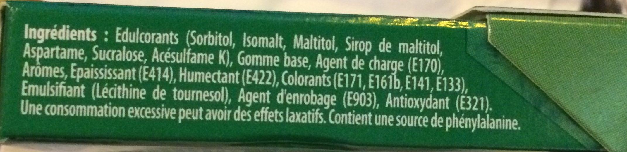 Chewing gum Green Fresh parfum menthe verte - Ingrédients