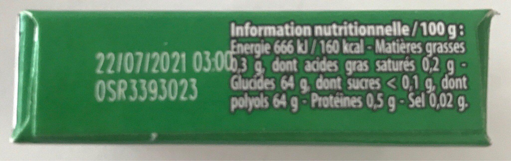 Chewing gum Green Fresh parfum menthe verte - Informations nutritionnelles