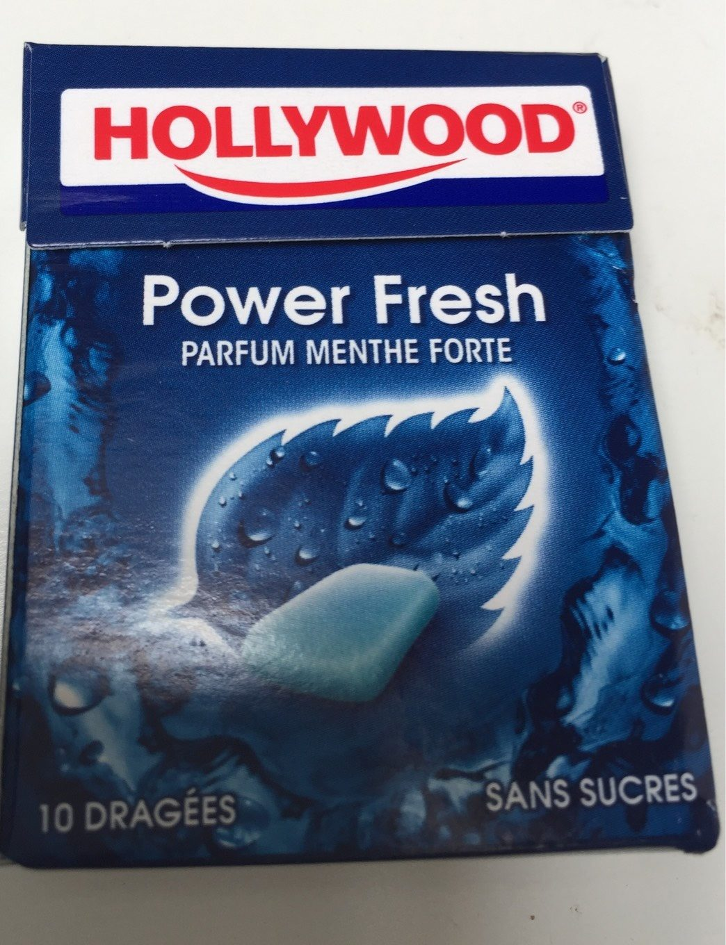 Chewing gum menthe forte s/sucres Hollywood Power Fresh - Produit