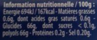 Blancheur parfum menthe polaire - Informations nutritionnelles - fr