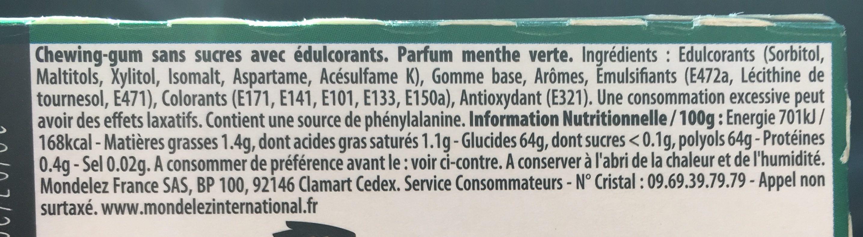 Menthe verte max sans sucres - Ingrédients - fr