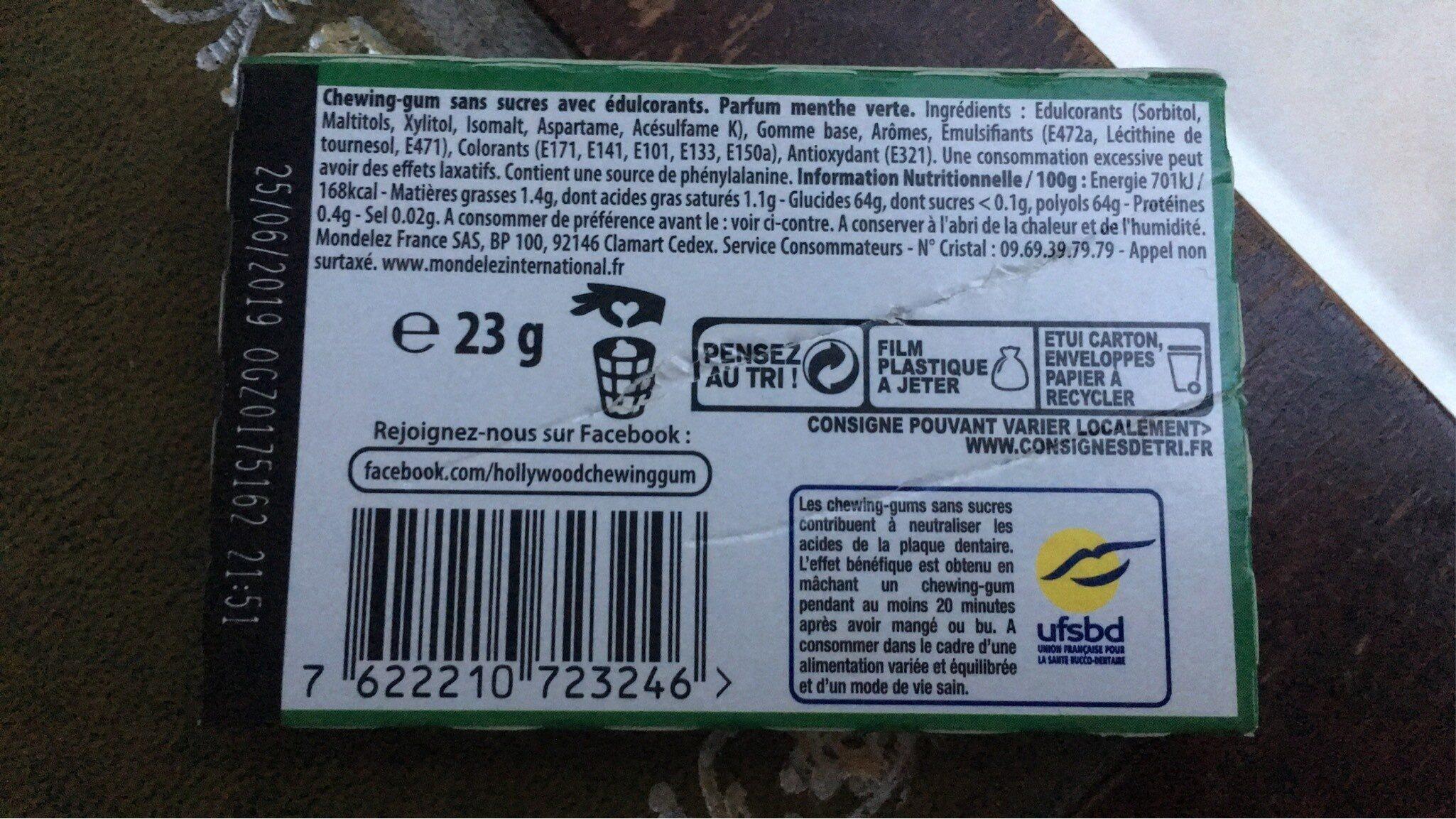 Menthe verte max sans sucres - Informations nutritionnelles - fr