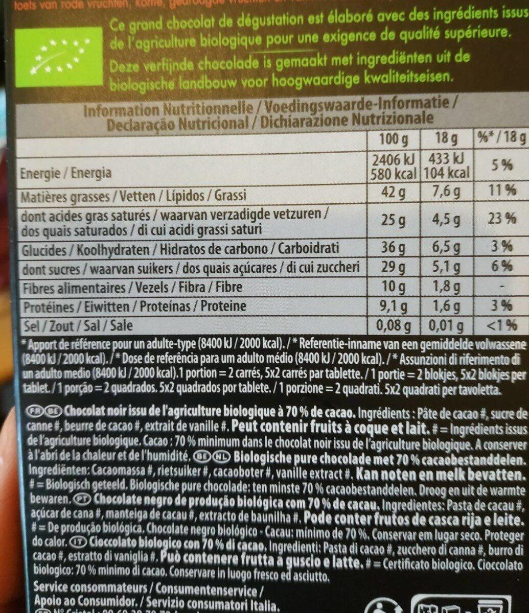 Bio Noir Fèves Rares Trinitario 70% de cacao - Nutrition facts - fr