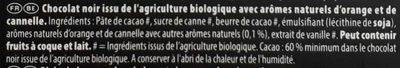 Chocolat noir orange bio - Ingrediënten - fr