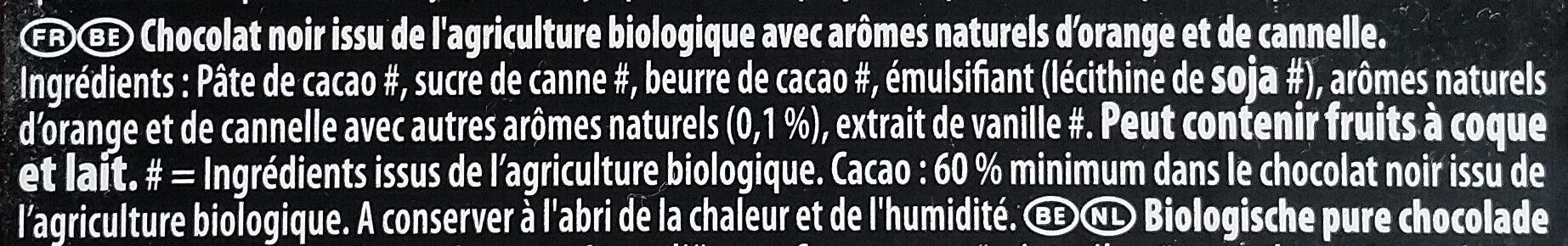 Chocolat noir saveur orange bio - Ingrédients - fr