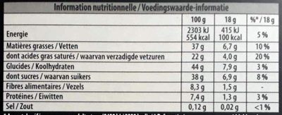 Chocolat noir saveur orange bio - Informations nutritionnelles - fr