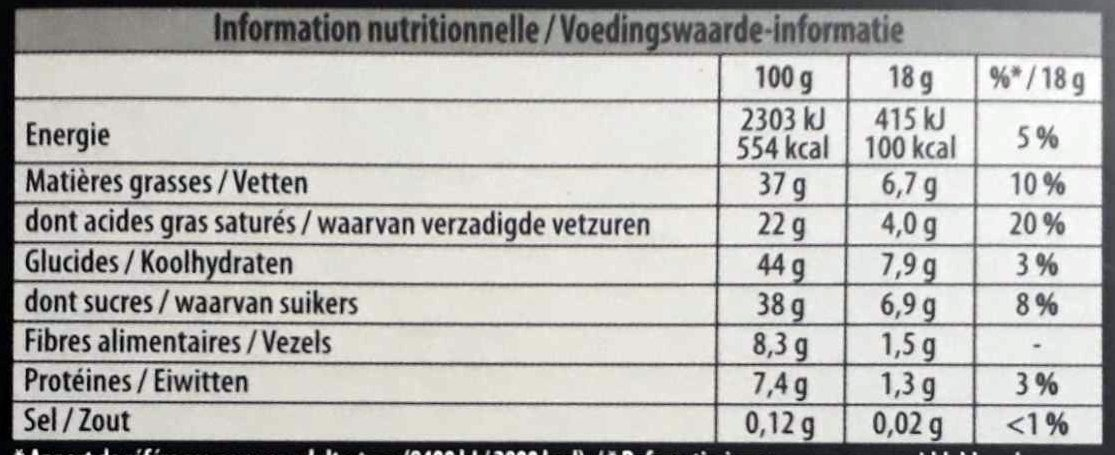Chocolat noir orange bio - Voedingswaarden - fr