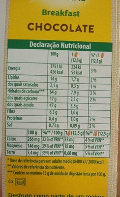 Belvita original breakfast chocolate - Nutrition facts