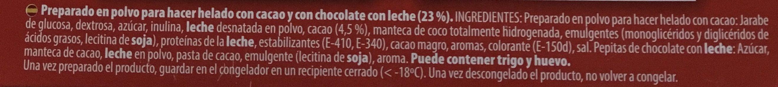 Royal Preparat Per Gelat De Xocolata Amb Milka - Ingrédients - es