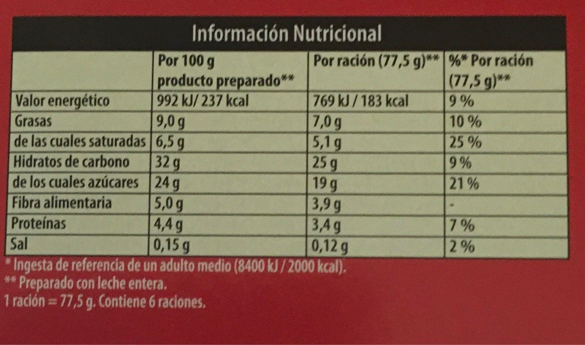 Royal Preparat Per Gelat De Xocolata Amb Milka - Informations nutritionnelles - es