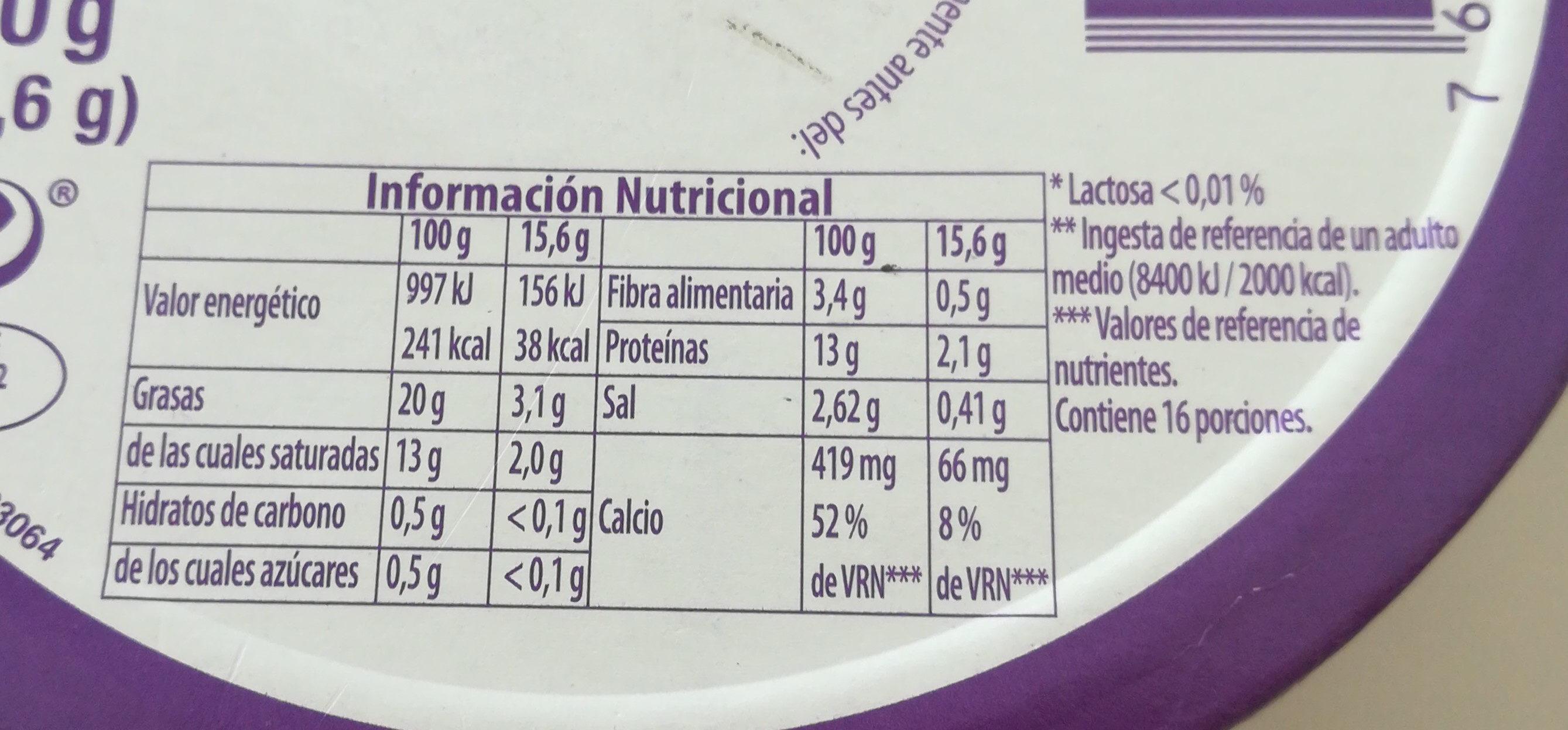 Queso en porciones (quesitos) sin lactosa - Información nutricional
