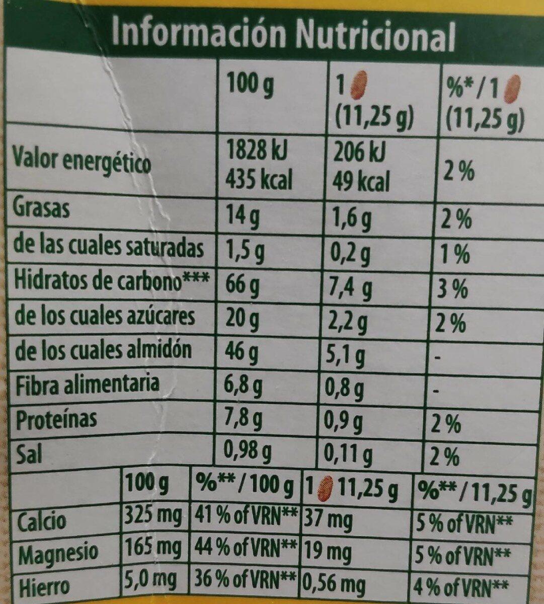 Galletas belvita 5 cereales - Información nutricional - es