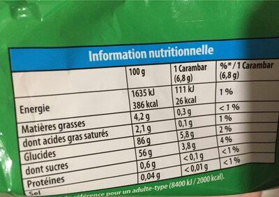 Carambar goûts fruits - Informations nutritionnelles