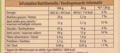 Noir Poire - Nutrition facts