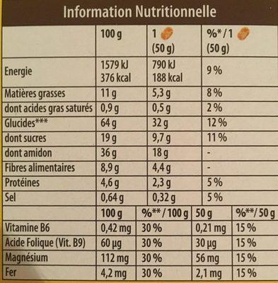 Belvita petit dejeuner moelleux - Nutrition facts - fr