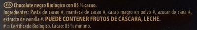 Bio chocolate ecológico cacao trinitario de república - Ingredients