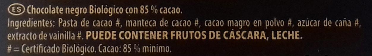 Bio chocolate ecológico cacao trinitario de república - Ingredientes