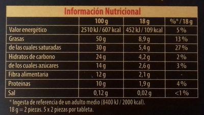 Chocolate negro Bio 85% - Información nutricional