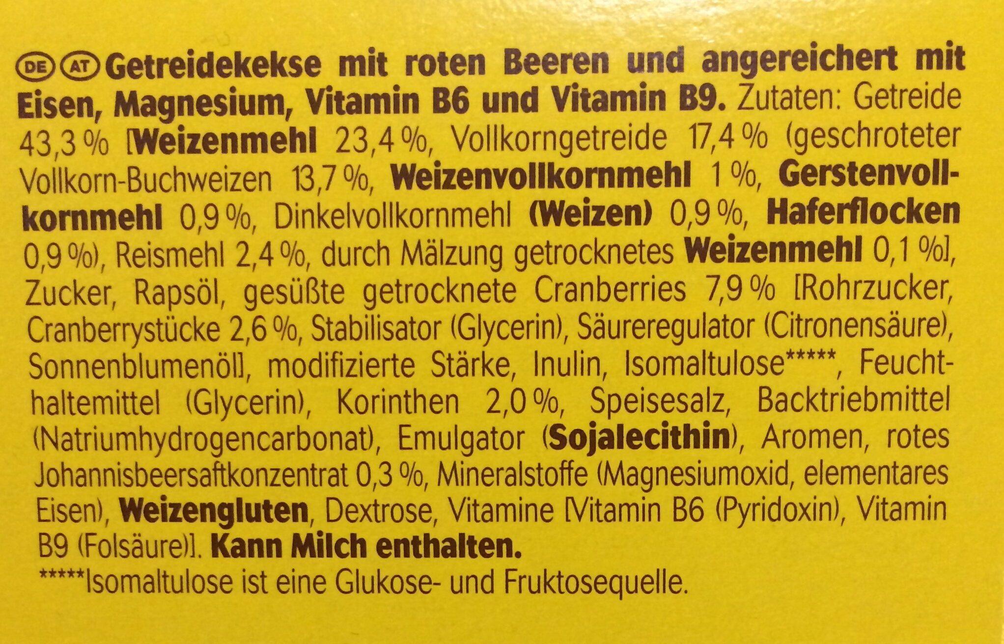 Belvita Soft Rote Beeren - Inhaltsstoffe
