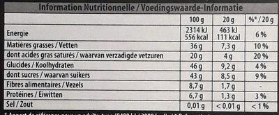Noir aux éclats de noisettes caramelisées et de sésame - Nutrition facts