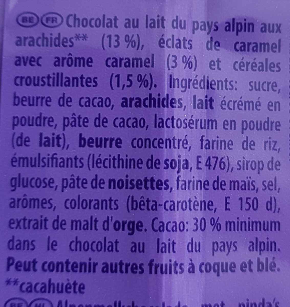 Chocolat cacahuètes et Éclats Croquants - Ingrédients - fr