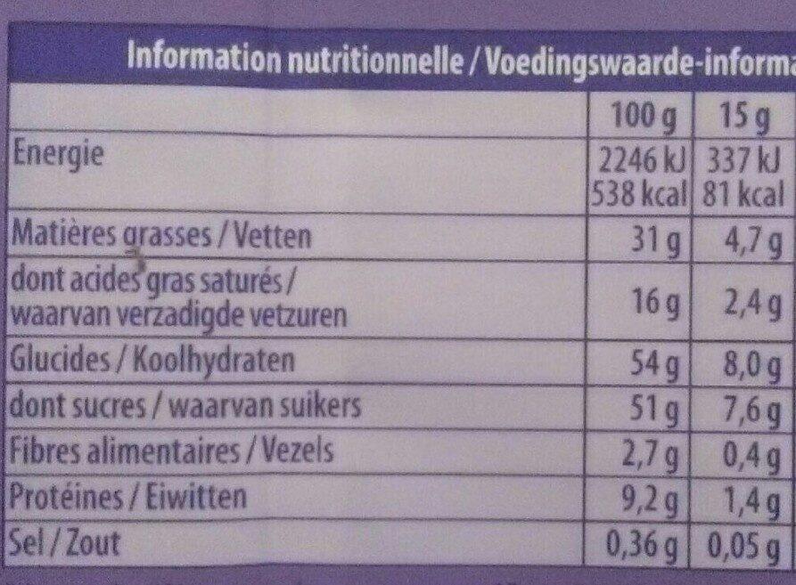 Chocolat cacahuètes et Éclats Croquants - Informations nutritionnelles - fr