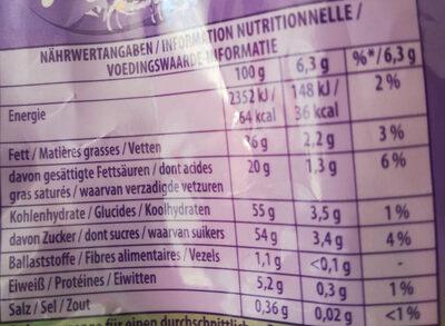 Bonbons lait pétillant - Informations nutritionnelles