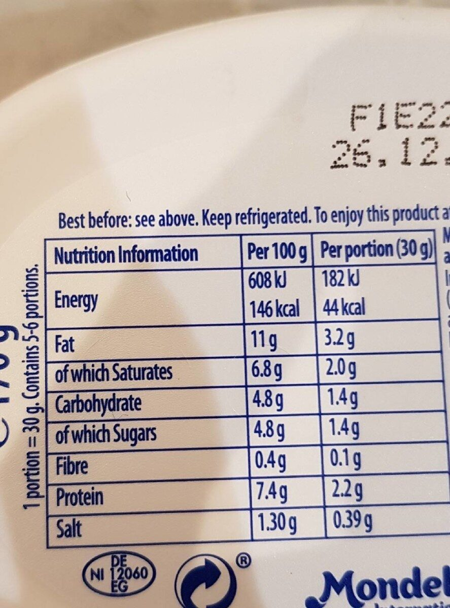Philadelphia salmon - Nutrition facts