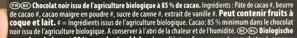 Chocolat Bio noir - Ingrediënten