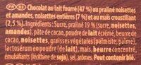 Encore - praliné - Ingredients