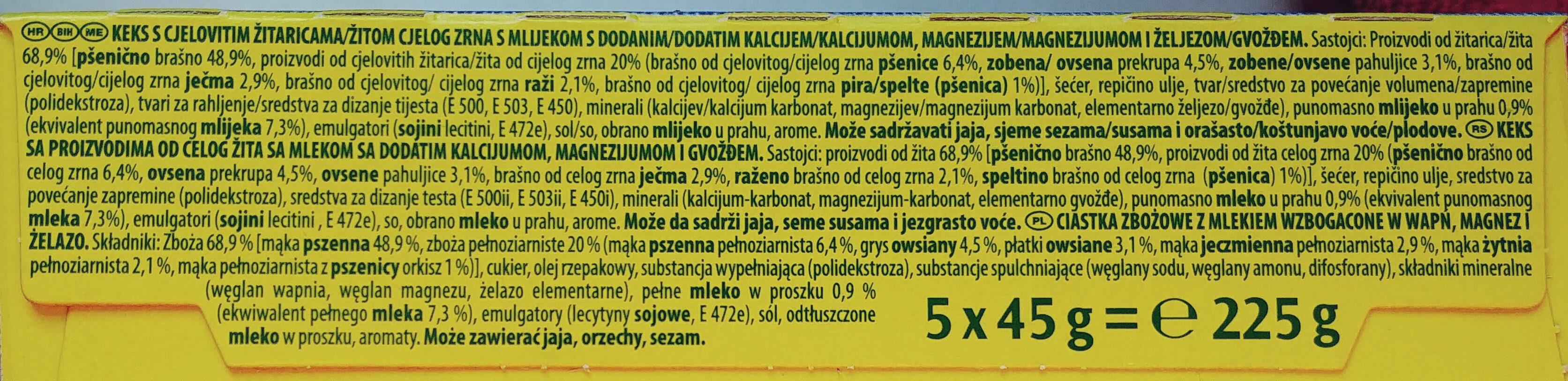 Ciastka zbożowe z mlekiem wzbogacone w wapń, magnez i żelazo. - Ingredients - pl