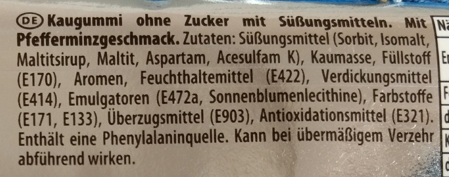 Kaugummi Peppermint flavour - Inhaltsstoffe