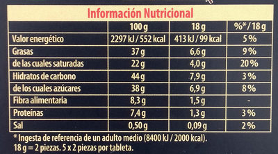 Chocolate Negro Toque de Sal Bio - Nutrition facts
